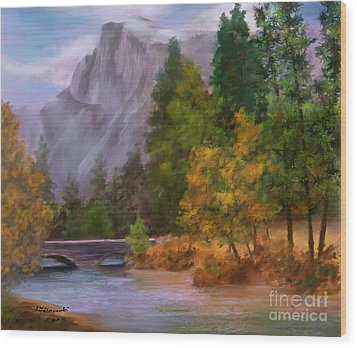 Yosemite Valley Half Dome Wood Print by Judy Filarecki