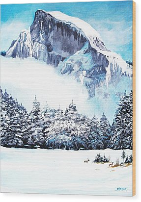 Wood Print featuring the painting Yosemite Winter by Al Brown