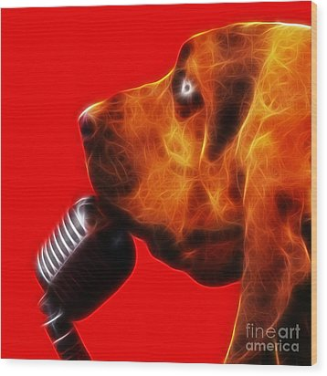 You Ain't Nothing But A Hound Dog - Red - Electric Wood Print by Wingsdomain Art and Photography