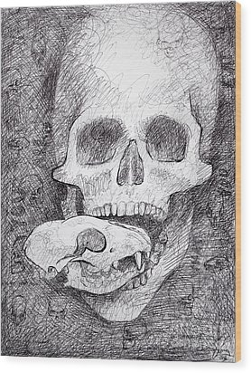 You Are What You Eat Skull Drawing Wood Print by Adam Long
