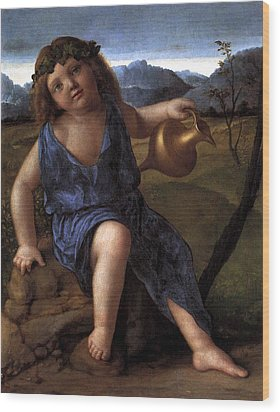 Wood Print featuring the painting Young Bacchus Dionysus Giovanni Bellini 1514 by Karon Melillo DeVega