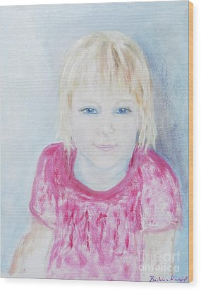 Young Blue-eyed Girl  Wood Print by Barbara Anna Knauf