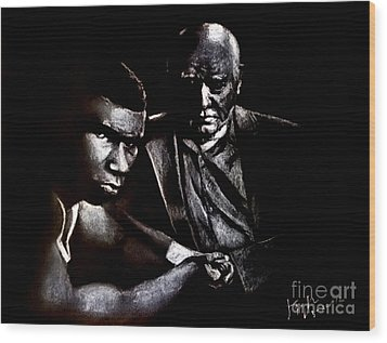 Young Boxer And Soon To Be World Champion Mike Tyson And Trainer Cus Damato Wood Print