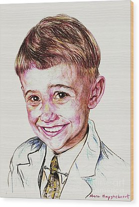 Young Boy Wood Print by PainterArtist FIN