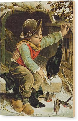 Young Boy With Birds In The Snow Wood Print by English School
