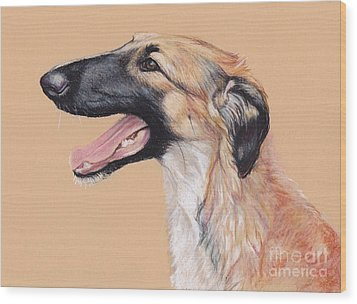 Young Female Borzoi Wood Print by Charlotte Yealey
