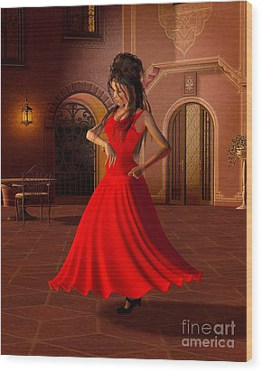 Young Flamenco Dancer Wood Print by Fairy Fantasies