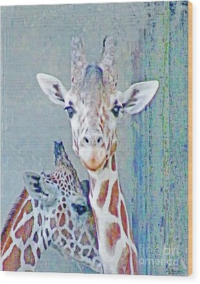 Young Giraffes Wood Print