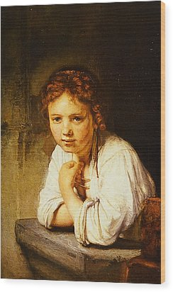 Young Girl At A Window Wood Print by Rembrandt
