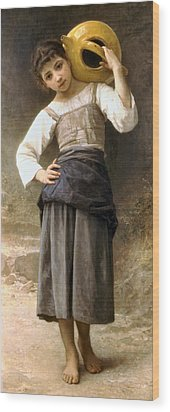Young Girl Going To The Fountain Wood Print by William Bouguereau