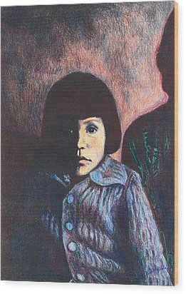 Young Girl In Blue Sweater Wood Print by Kendall Kessler