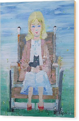 Young Girl-with Cat- On Wheelchair Wood Print by Fabrizio Cassetta