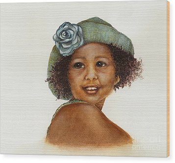 Young Girl With Straw Hat Wood Print by Nan Wright