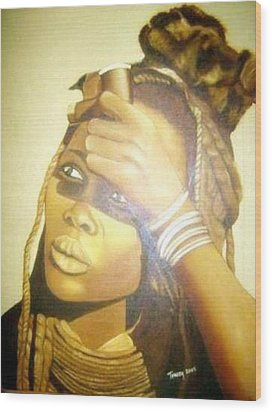 Young Himba Girl - Original Artwork Wood Print