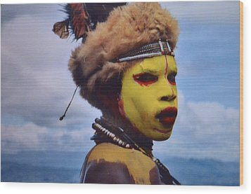 Young Huli Warrior Papua New Guinea Wood Print