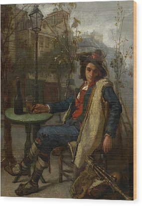 Young Italian Street Musician Wood Print by Thomas Couture