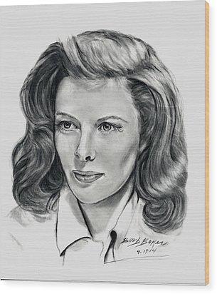 Young Katherine Hepburn Wood Print