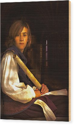Young Lad In Window Wood Print by John Rivera