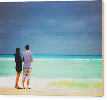 Young Love And The Stormy Sea Wood Print by Mark E Tisdale