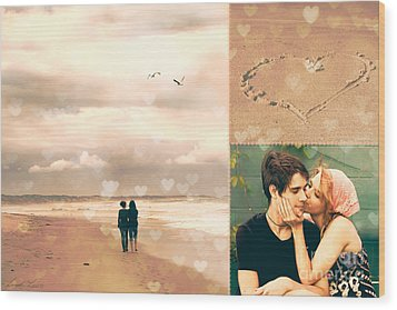 Young Love Wood Print by Linda Lees