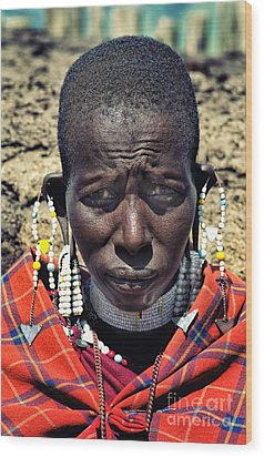Portrait Of Young Maasai Woman At Ngorongoro Conservation Tanzania Wood Print