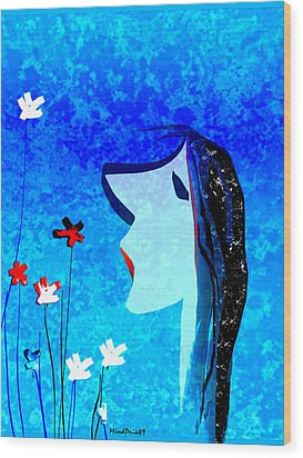 Young Maiden Wood Print by Asok Mukhopadhyay
