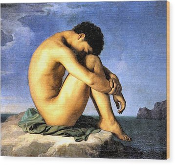 Young Man By The Sea Wood Print by Hippolyte Flandrin