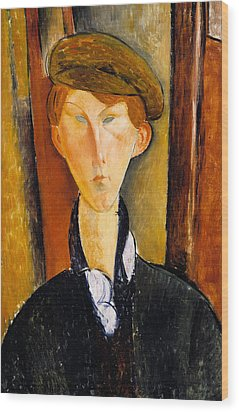 Young Man With Cap Wood Print by Amedeo Modigliani