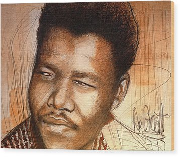 Young Mandela Wood Print by Gregory DeGroat