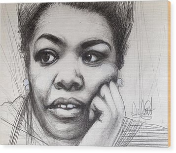 Young Maya Angelou Wood Print by Gregory DeGroat
