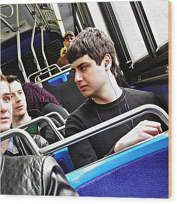Young Men On The M4 Bus Wood Print by Sarah Loft