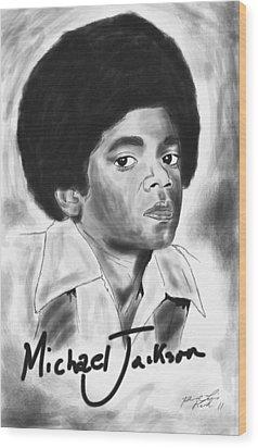 Young Michael Jackson Wood Print by Kenal Louis