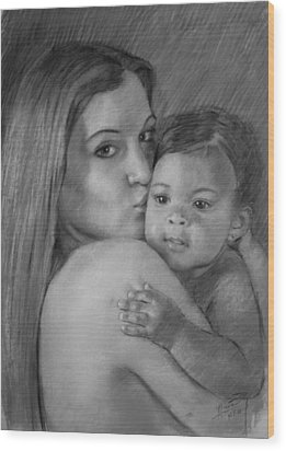 Wood Print featuring the drawing Young Mother With Her Baby by Viola El