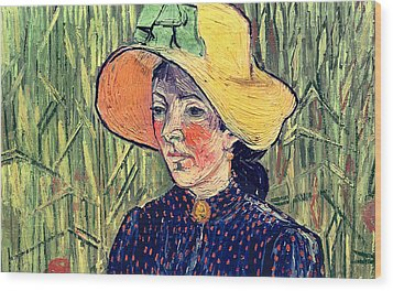Young Peasant Girl In A Straw Hat Sitting In Front Of A Wheatfield Wood Print by Vincent van Gogh
