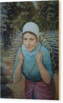 Wood Print featuring the painting Young Farmer by Laila Awad Jamaleldin