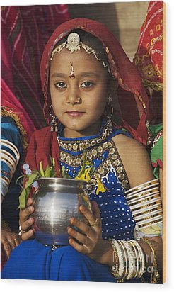 Young Rajathani At Mewar Festival - Udaipur India Wood Print by Craig Lovell