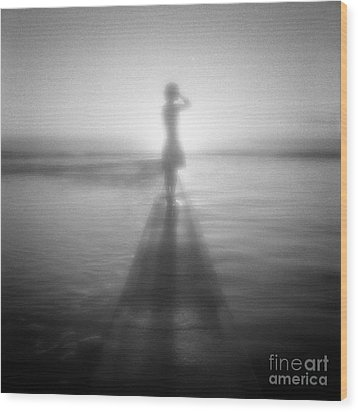 Young Woman By Pool At Sunrise Wood Print by Colin and Linda McKie