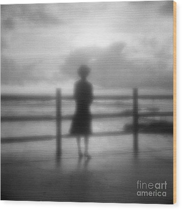 Young Woman By Sea Early Morning Wood Print by Colin and Linda McKie