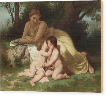 Young Woman Contemplating Two Embracing Children Wood Print by William Bouguereau