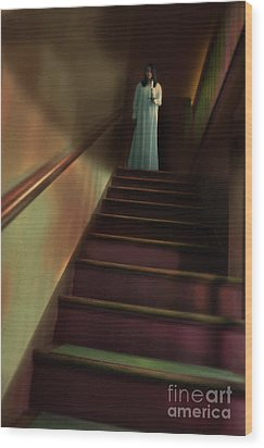 Young Woman In Nightgown On Stairs Wood Print by Jill Battaglia