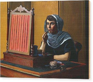 Young Woman Putting On Lipstick Wood Print by Felix Edouard Vallotton