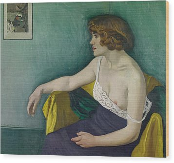 Young Woman Seated In Profile Wood Print by Felix Edouard Vallotton