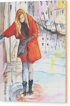 Young Woman Walking Along Venice Italy Canal Wood Print
