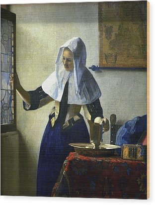 Young Woman With A Water Pitcher Wood Print by Johannes Vermeer