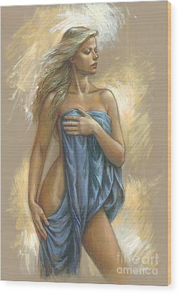 Young Woman With Blue Drape Wood Print by Zorina Baldescu