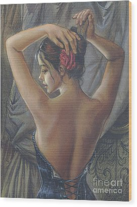 Young Woman With Luth Crop Wood Print by Zorina Baldescu