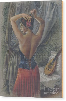 Young Woman With Luth Wood Print by Zorina Baldescu