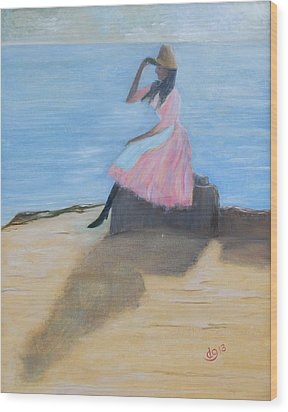 Young Women On The Beach Wood Print