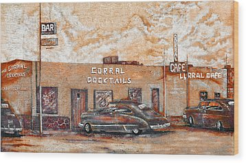Young's Corral - Holbrook Az - Route 66 - The Mother Road Wood Print by Christine Till