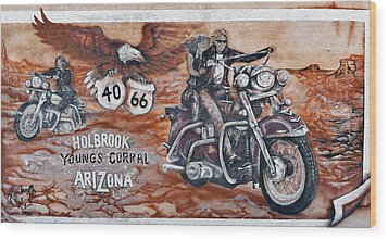 Young's Corral In Holbrook Az On Route 66 - The Mother Road Wood Print by Christine Till